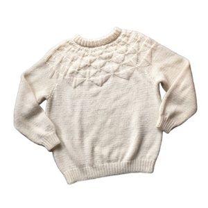 2X Vintage Hand-Knit Soft White Fair Isle Sweater